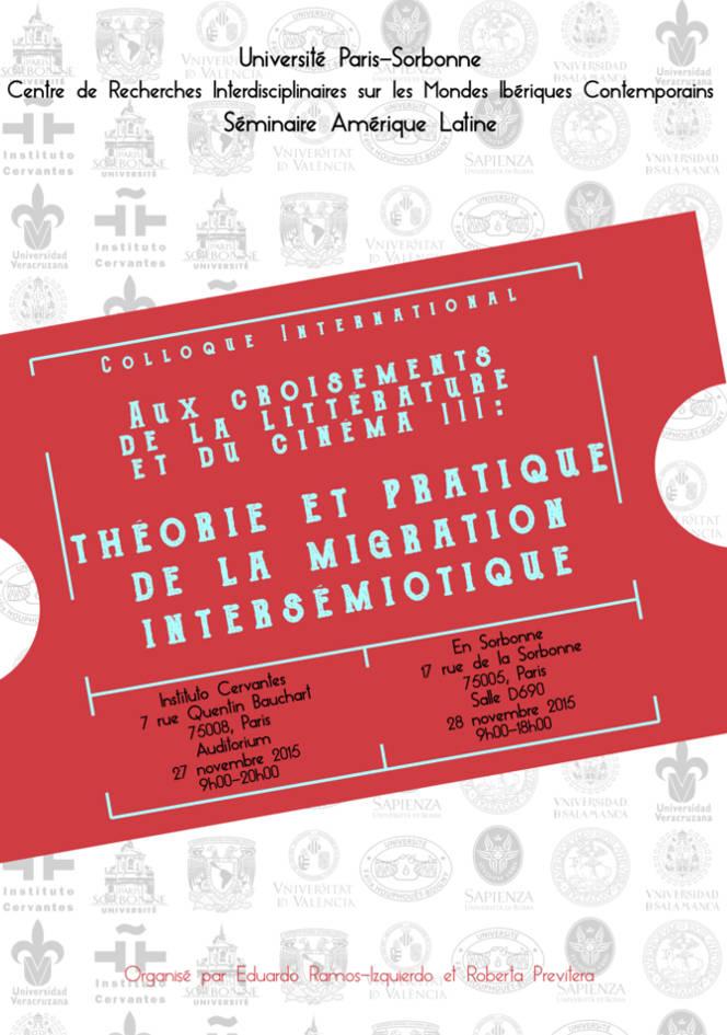 """Colloque international """"Aux croisements de la littérature et du cinéma III"""""""