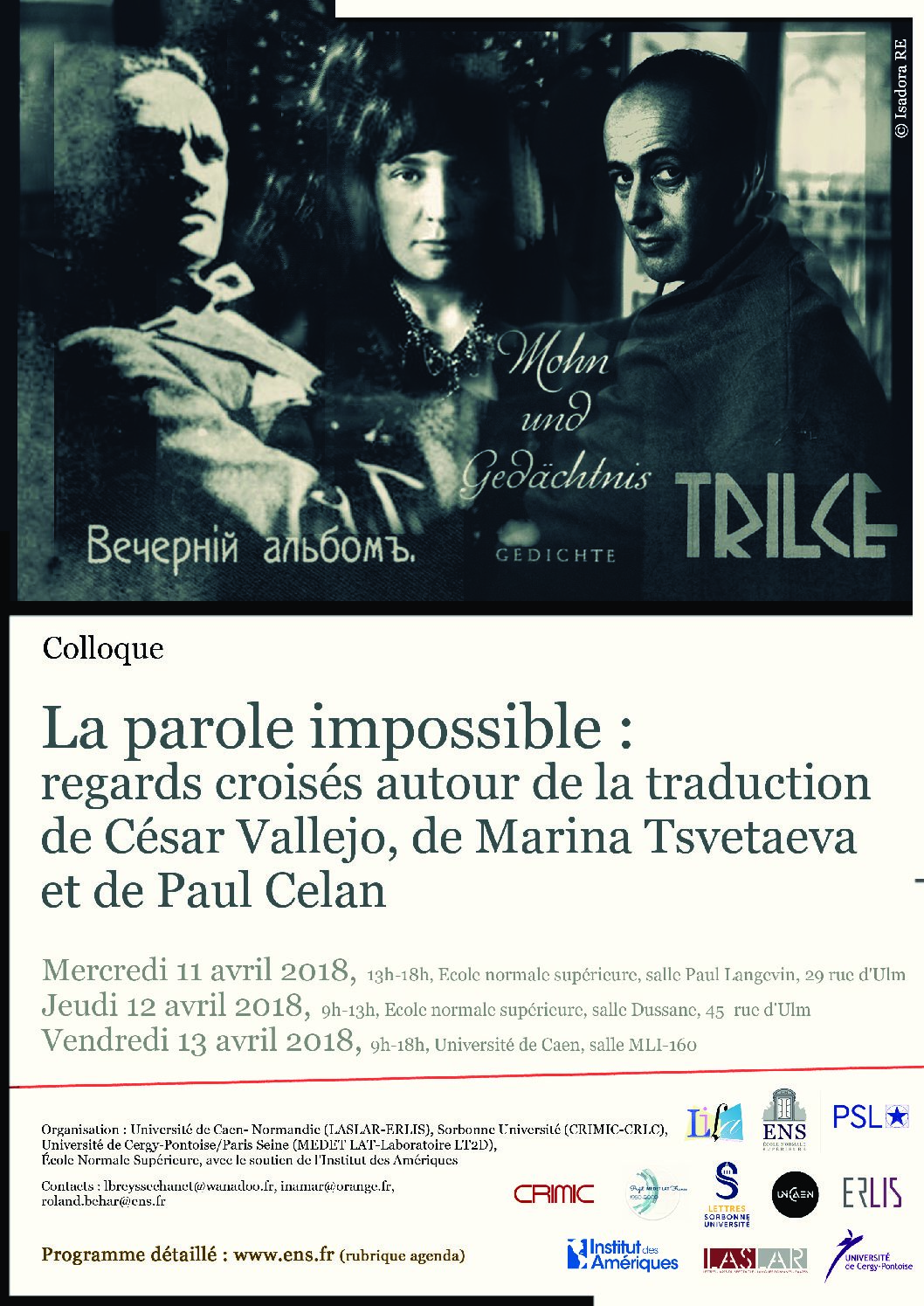 La parole impossible : regards croisés autour de la traduction de César Vallejo, de Marina Tsvetaeva et de Paul Celan