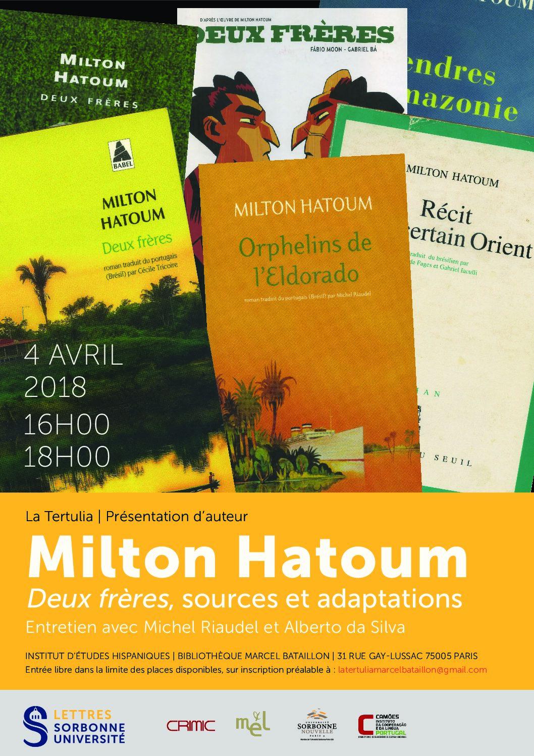 «Tertulia» avec l'écrivain brésilien Milton Hatoum