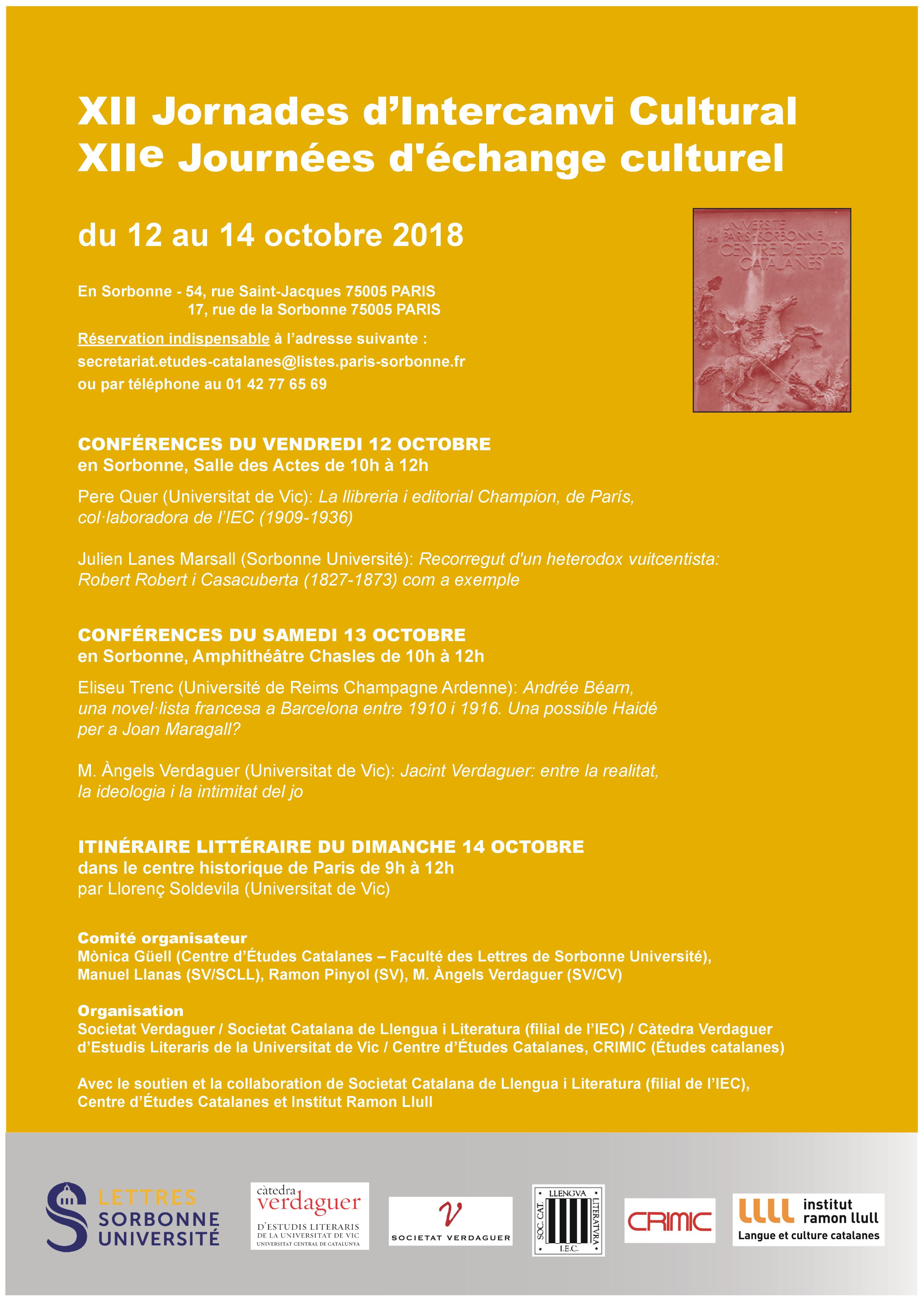 XII Jornades d'intercanvi cultural / XII Journées d'échanges culturels