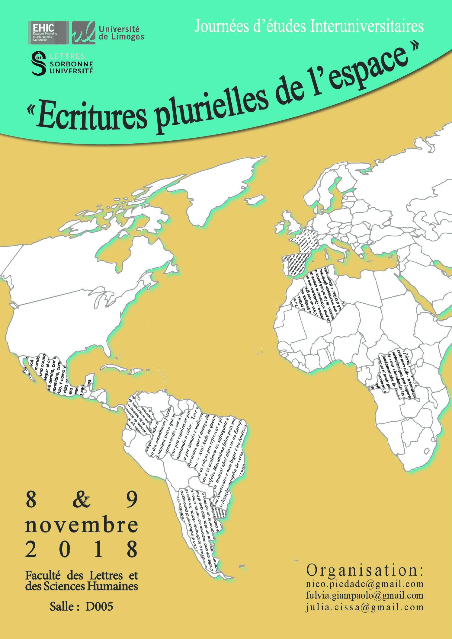 Journées d'études interuniversitaires  « Ecritures plurielles de l'espace »