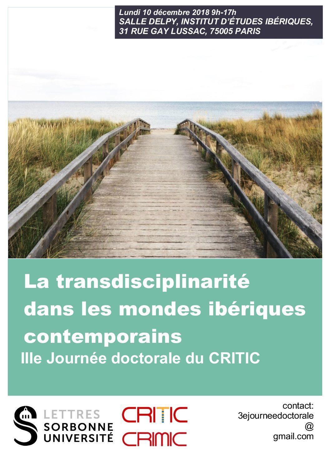 """Journée d'études """"La transdisciplinarité dans les mondes ibériques contemporains"""""""