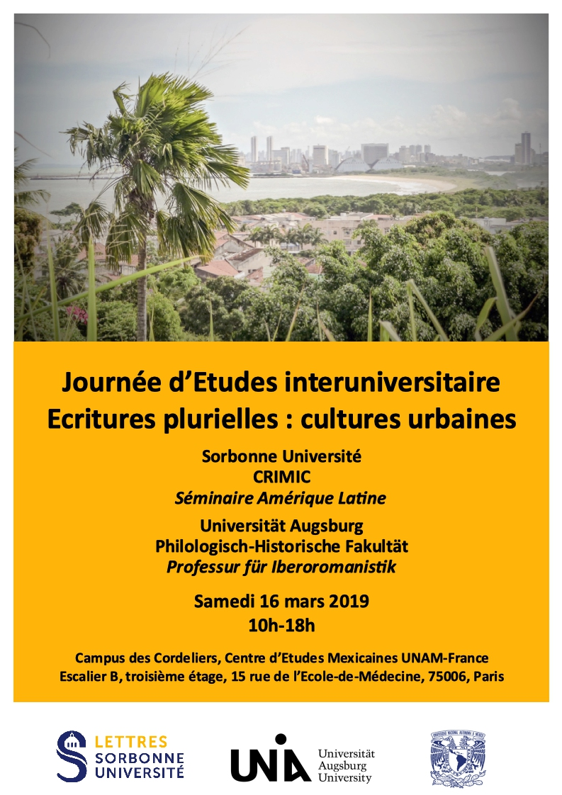 Journée d'Etudes Interuniversitaire «Ecritures plurielles : cultures urbaines»