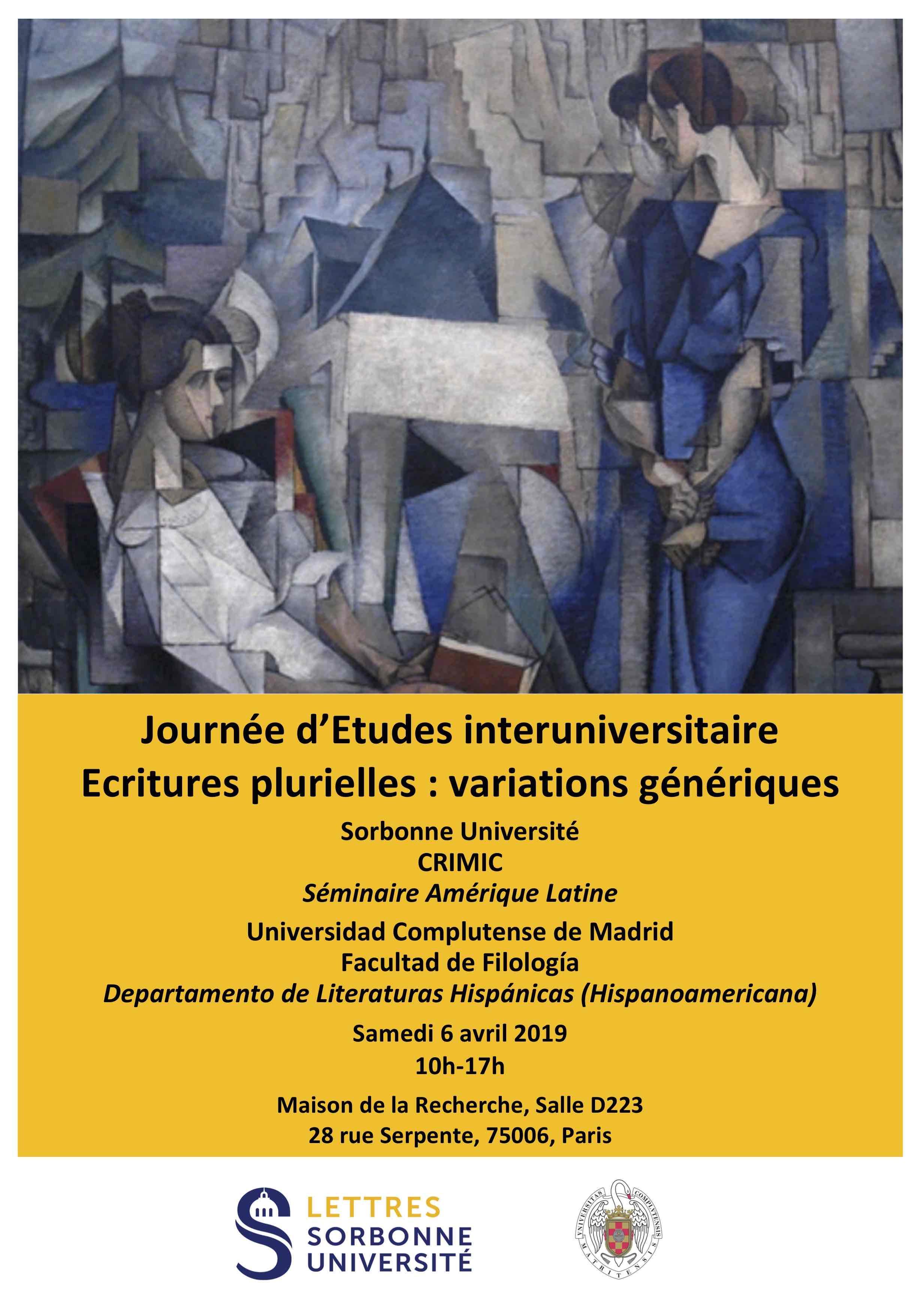 Journée d'Etudes Interuniversitaire « Ecritures plurielles : variations génériques »