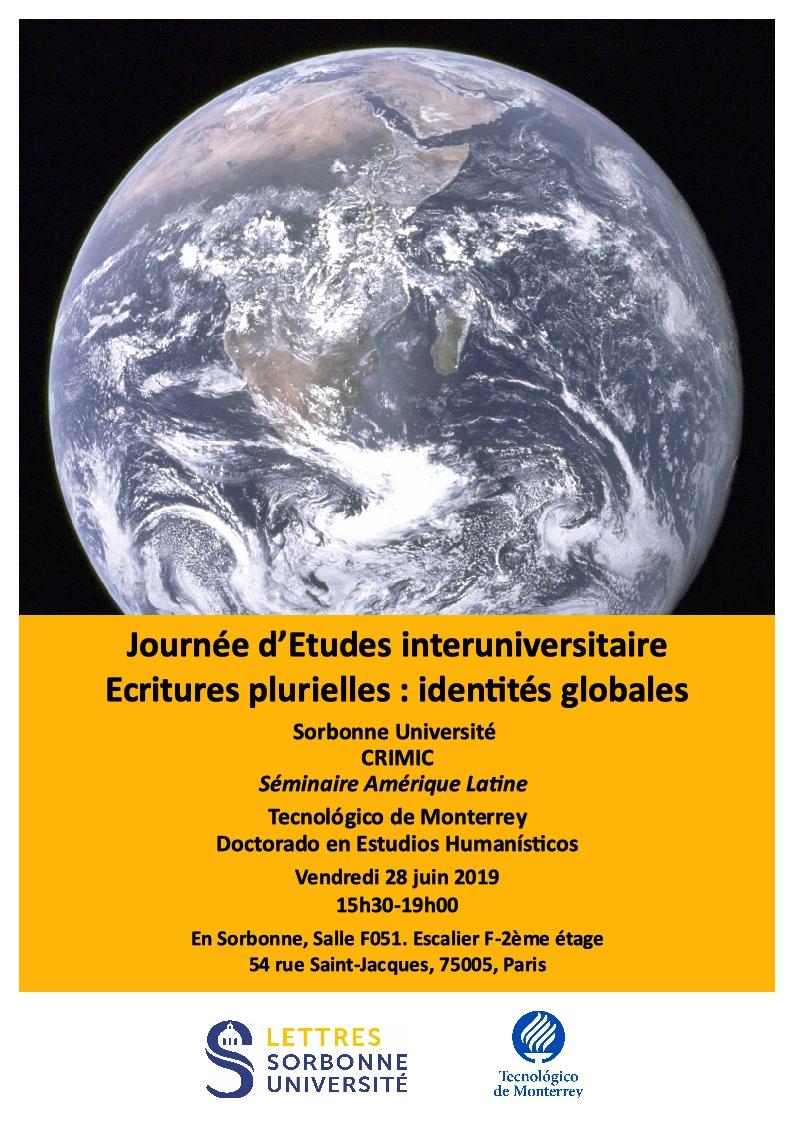 """Journée d'Etudes interuniversitaire """"Ecritures plurielles : identités globales"""""""