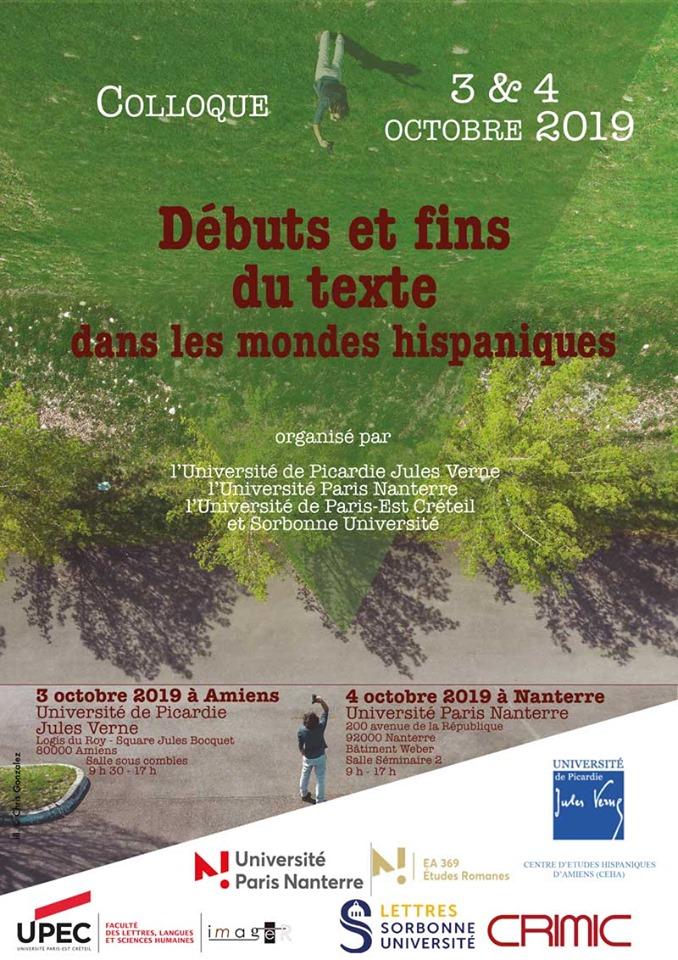 Colloque « Débuts et fins du texte dans les mondes hispaniques »