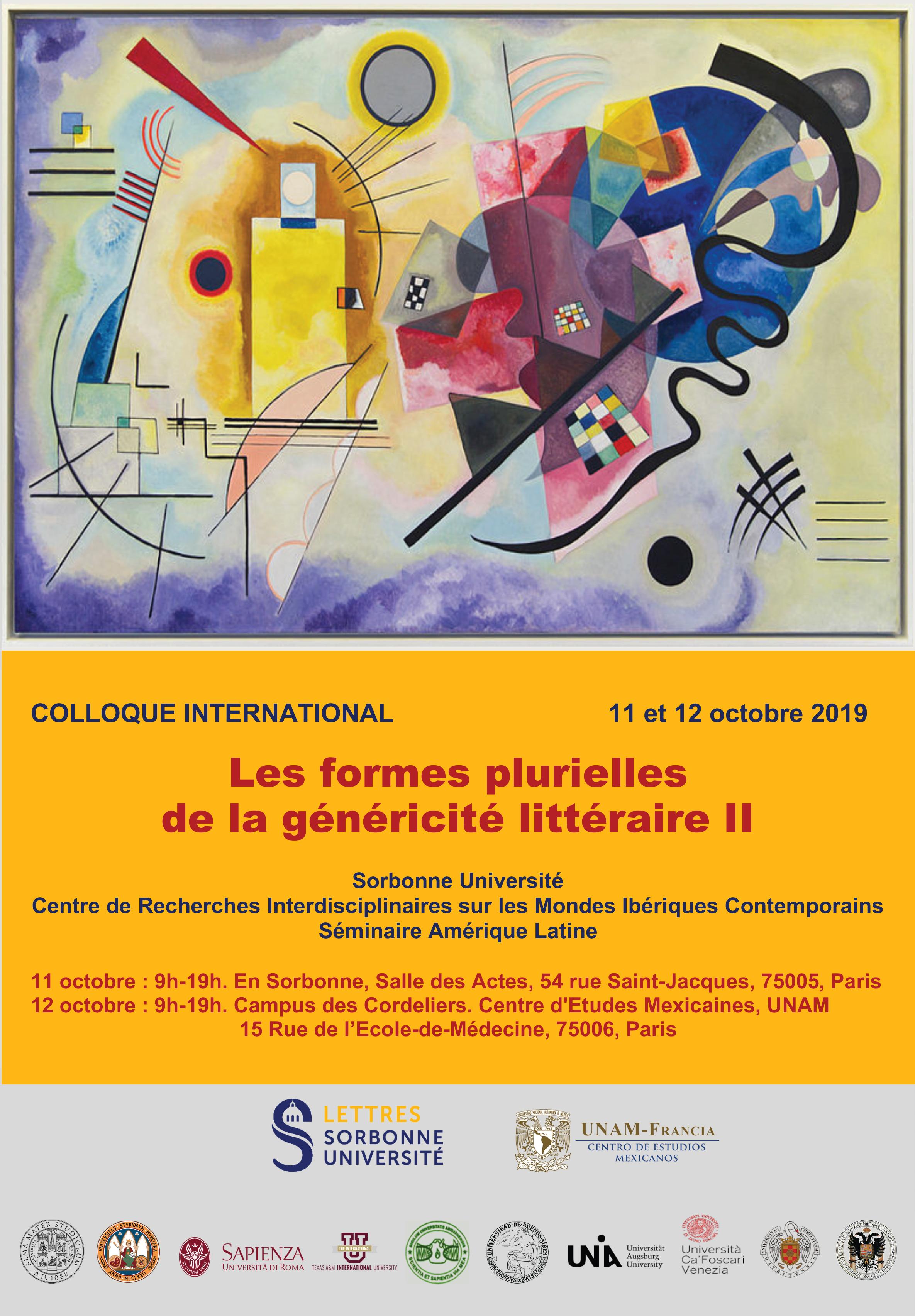 Colloque International «Les formes plurielles de la généricité littéraire II»