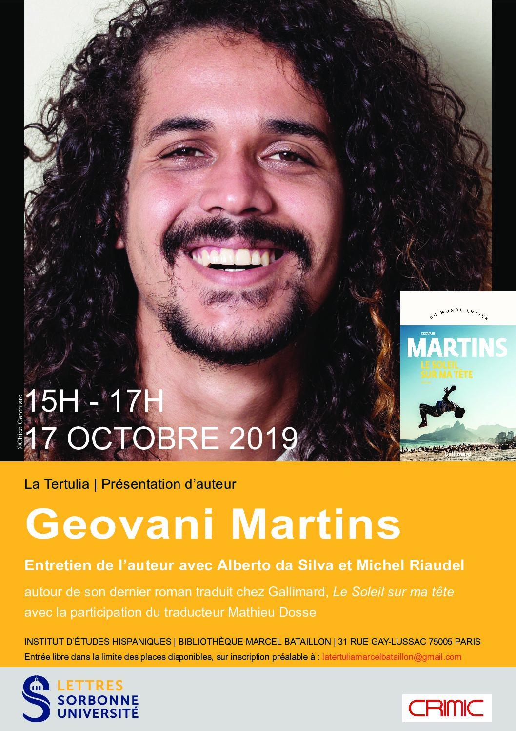 Tertulia : rencontre avec l'écrivain brésilien Geovani Martins