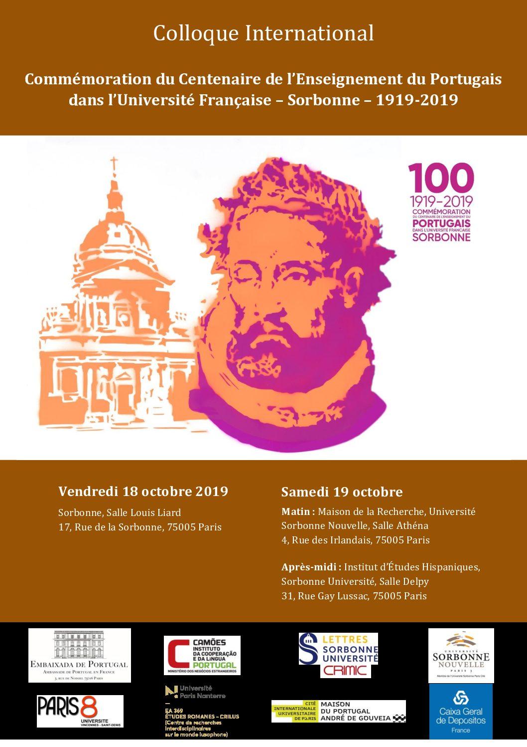 Commémoration du Centenaire de l'enseignement du Portugais dans l'Université française (1919-2019)