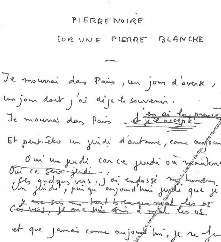 Sévana Karalékian : «Le travail de l'invisible. César Vallejo dans les archives de Claude Esteban (IMEC).»