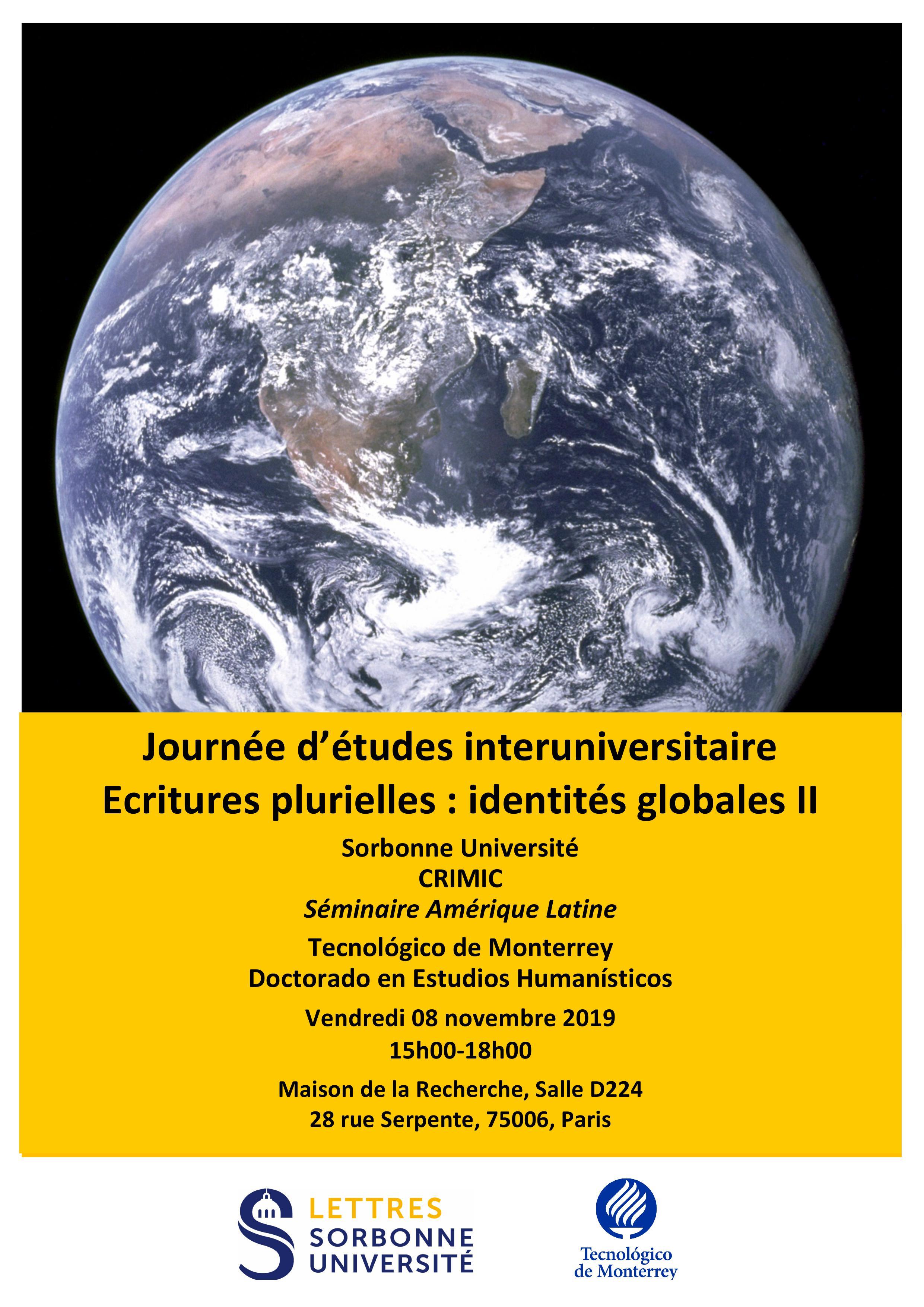 Journée d'études interuniversitaire « Ecritures plurielles : Identités globales II »