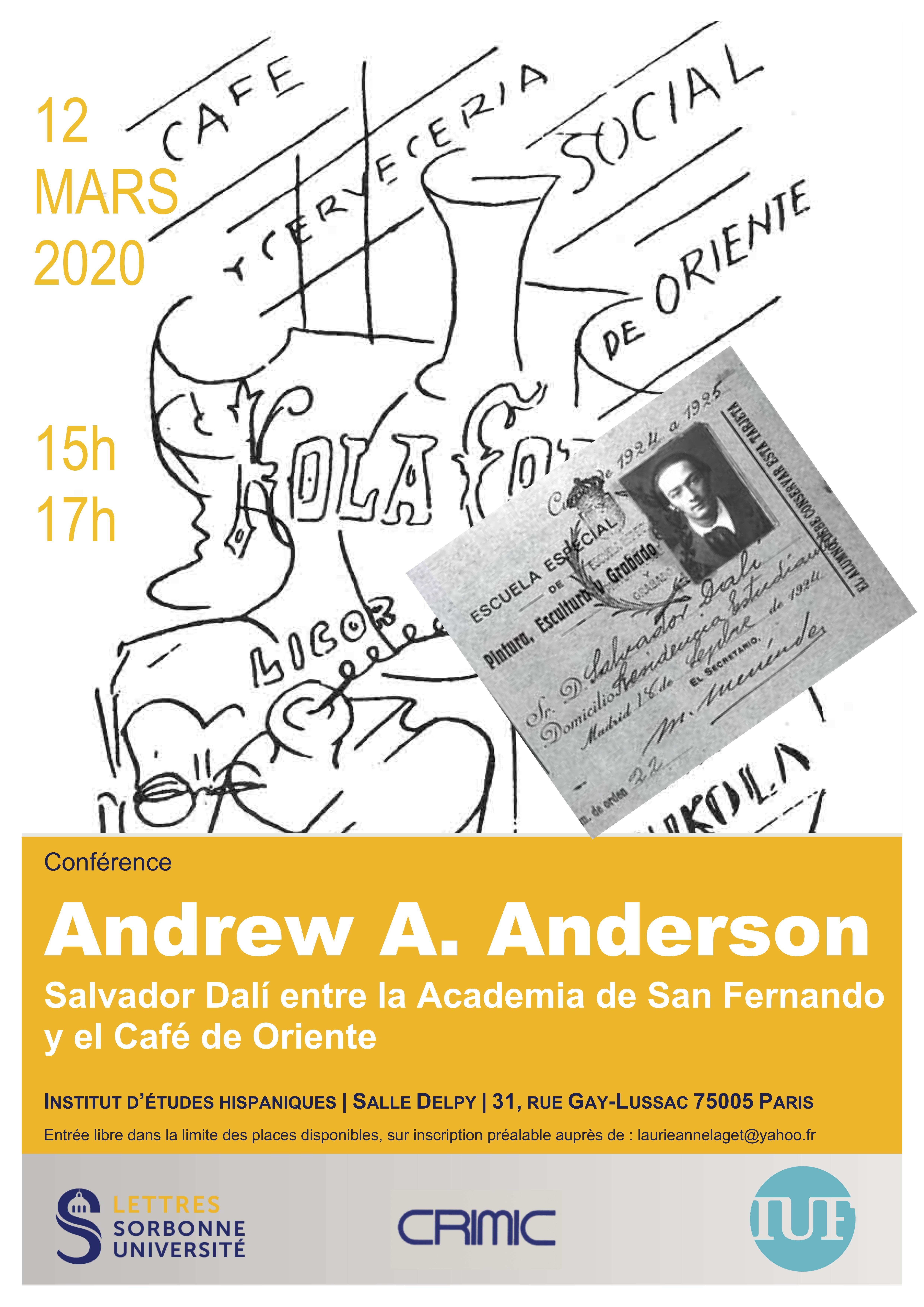 """Andrew A. Anderson: """"Salvador Dalí entre la Escuela de San Fernando y el Café de Oriente"""""""