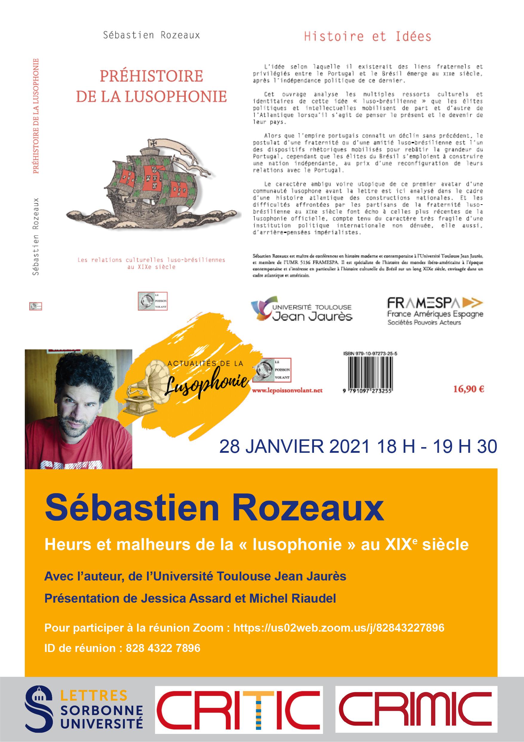 Sébastien Rozeaux, pour une préhistoire de la «lusophonie» au XIXe siècle